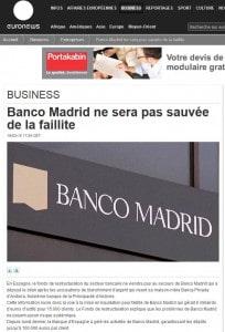 Banco Madrid ne sera pas sauvée de la faillite _ euronews